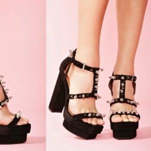 ☾JEFFREY CAMPBELL Ibiza Toledo Studded Heels 5.5☽